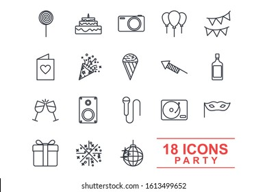 Set Party icon template color editable. Birthday, Holidays pack symbol vector sign isolated on white background illustration for graphic and web design.