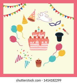 Set of Party Related Vector with fireworks, magician, cake, candle, and balloons. Editable illustration