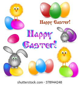 Set of paschal pictures as logotypes for greeting with Easter isolated on white with painted eggs, little yellow chicken and easter bunny in different versions. Vector illustration