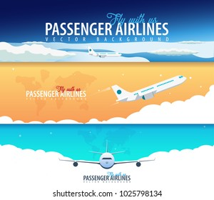 Set of Passenger Airlines banners. Clouds sky background with airplane. Vector illustration