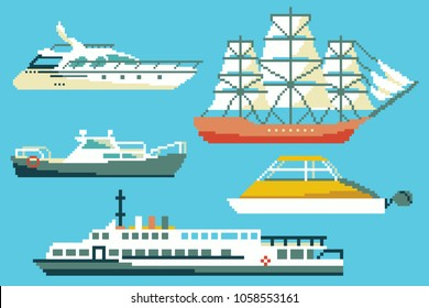Set of passenger boats and ships in 8 bit art style. Colored pixel vector illustration