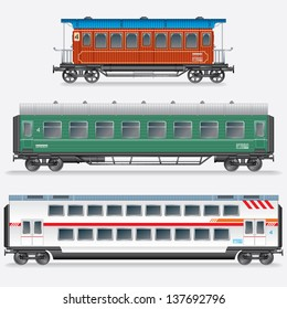 Set of Passenger Railway Waggons. Obsolete and Modern Railroad Car. Side View Vector Illustration