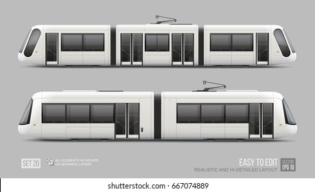 Set of passenger Tram Train, Streetcar - vector mockup template. Modern Urban Tramcar, Light rail train for branding identity and advertising design. City Electric transport Streetcar Isolated on grey