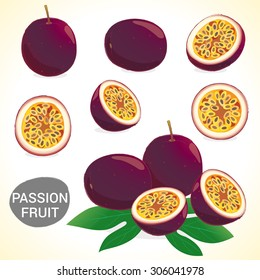 Set of passionfruit (passion fruit) in vector and various styles