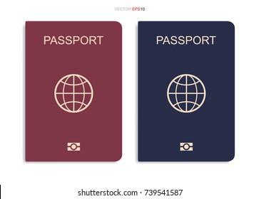Set of passport isolated on white background. Vector illustration.