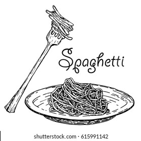 Set pasta on fork and plate.Spaghetti. Vector vintage black illustration isolated on white background.