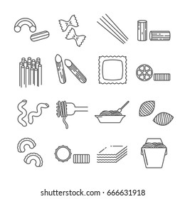 Set of pasta Related Vector Line Icons. Contains such icon as macaroni, noodle, spaghetti, vermicelli, food, meal