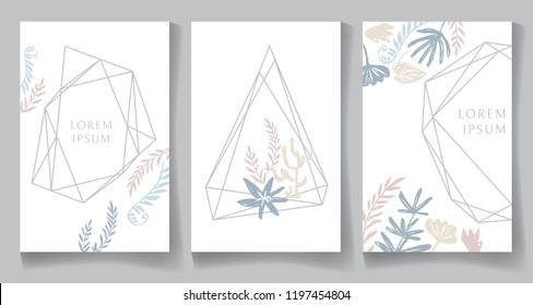 Set of pastel color cards, geometric trendy crystal design. Hand drawn sketchy graphics, branches, fern, leaves. Terrariums. Vector illustration