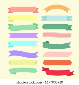 Set of pastel and colorful ribbon. Blank banners collection in different styles.