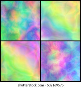 Set of Pastel Iridescent Backgrounds for Placard, Poster, Signboard. Collection of Textures with Holographic Effect. Multicolor Universal Abstraction.