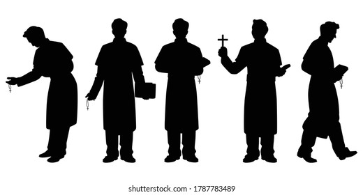 Set of pastor with christian cross and bible silhouette vector