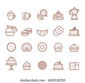 Set of pastry line-art icons. Collection of vector flat symbols.