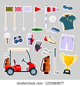 Set of patch badges golf equipment icon logo in flat style. Clothes and accessories for golfing, sport game, vector illustration