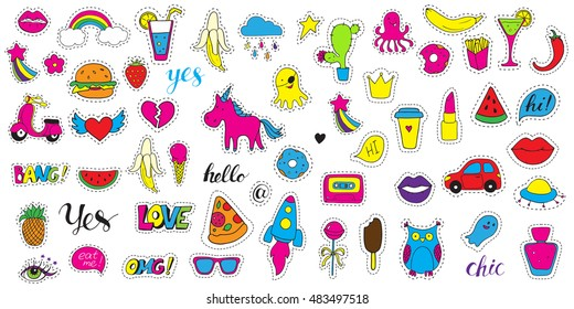 Set patch badges. Hand drawn vector cartoon funny stickers. Modern doodle pop art sketch and inscriptions. Cute isolated pins and icons. Bright fashion elements. Embroidery, applique.