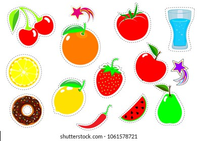 Set patch comic badges. Hand drawn vector cartoon funny pop art stickers. Modern doodle sketch. Fruits, isolated on white background. Vector illustration