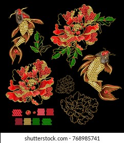 Set of patches with embroidery of Japanese koi carp and peony. Patches are decorated with sequins and beads. Vector illustration.