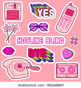 "Set of patches, stickers, badges, pins with old cell phones, heart-shaped sunglasses, lips, lollipops, phrases ""Yes"", ""Nope"", ""Hotline Bling"", heart, floppy disk, mixtape. Comic style of 80s-90s."