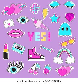 """Set of patches, stickers, badges, pins with eye, lips, ice-cream, phrase """"Yes"""", hearts, mixtape, pac man, rainbow, arrow, star, lightning, strawberry, cherry, sneakers, gemstone. Style of 80s-90s."""