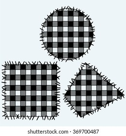 Set patchwork. Isolated on blue background. Vector silhouettes