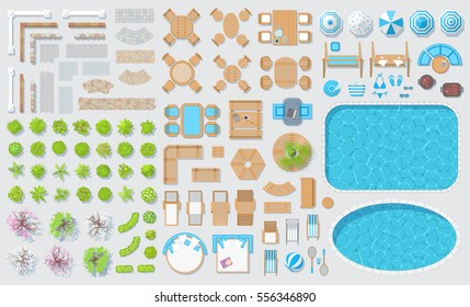 Set patios elements. Outdoor furniture. (top view)  Fences, paths, trees, plants, tables, chairs, benches, sunbeds, umbrellas, swings, swimming pools. (view from above)