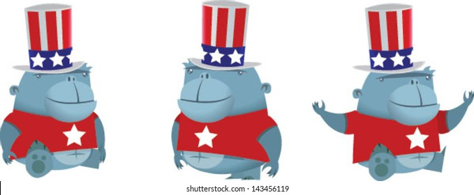 A set of patriotic cute cartoon apes - Vector clip art illustration on white