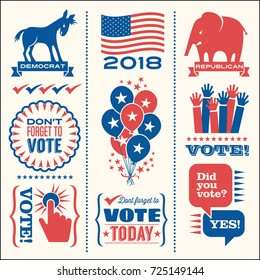 Set of patriotic design elements to encourage voting in United States elections. For web banners, cards, posters, stickers