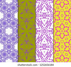 Set Of Pattern Of Abstract Geometric Flowers. Seamless Vector Illustration