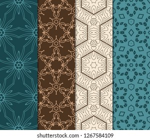 Set Of Pattern Of Abstract Geometric Flowers. Seamless Vector Illustration. For Design Greeting Cards, Backgrounds, Wallpaper, Interior Design. Tribal Ethnic Arabic, Fashion
