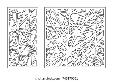 Set pattern geometric ornament. Card for laser cutting. Element decorative design. Geometric pattern. Vector illustration.