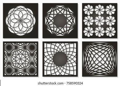 Set pattern geometric ornament. Card for laser cutting. Element decorative design. Geometric pattern. Vector illustration.