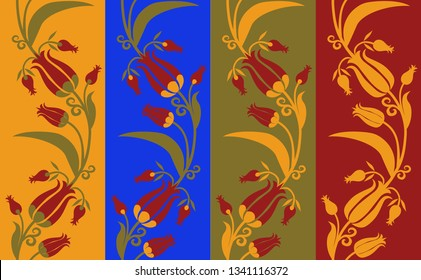 Set of pattern seamless with the tulips in different color options