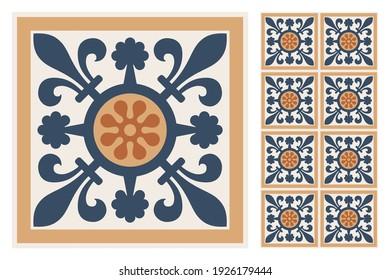 Set of patterned azulejo floor tiles. Abstract geometric background. Vector illustration, seamless mediterranean pattern. Portuguese floor tiles azulejo design. Floor cement talavera tiles collection