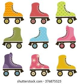 set of patterned roller skates