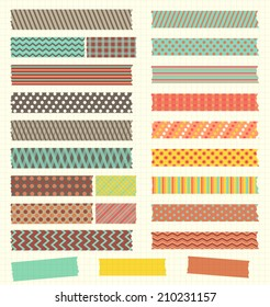 Set of patterned washi tape strips in retro colors. Vector design elements