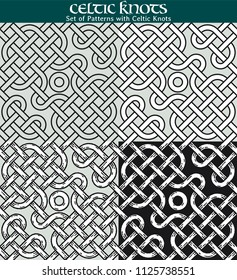 Set of Patterns with Celtic Knots. 4 different versions of a seamless pattern with Celtic knots: with white filling, without filling, with shadows and with a black background.