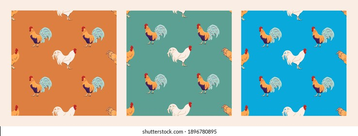 Set of patterns with chicken, roosters and eggs. Modern illustrations for textile design, wallpaper, fabric, wrapping paper. Set of three colourful seamless patterns