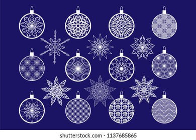 Set of patterns of Christmas balls and openwork snowflakes for laser or plotter cutting.