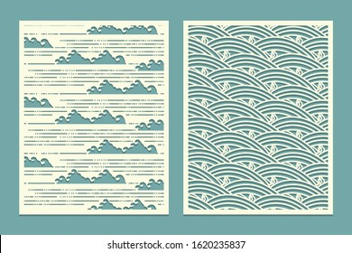 Set of patterns for cutting. Sea waves in Oriental style. Decor Metal cutting or wood carving, panel design stencil for fretwork paper art card background or interior decor Vector illustration.