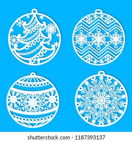 A set of patterns for laser cutting. Christmas balls. For cutting from paper, wood, metal. Vector.