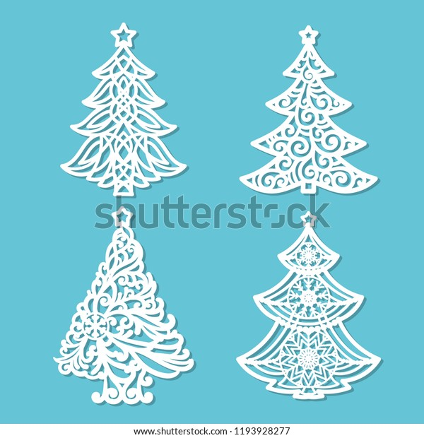 Free Wooden Christmas Tree Patterns.Set Patterns Laser Cutting Christmas Tree Stock Vector