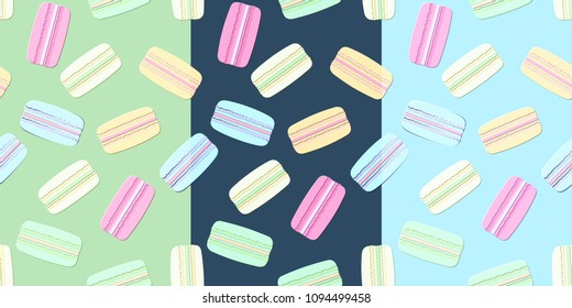 Set of the patterns of the multicolor macaroones. (3 backgrounds)