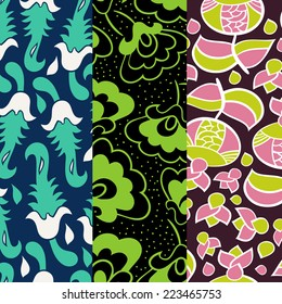 Set of patterns in one palette vector version . Seamless pattern