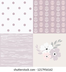 Set of patterns, pastel colors, flower, flowers and leaves, nature, separate elements, hand drawing, textiles, vector illustration