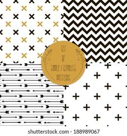 Set of  patterns. Set of simple seamless 4 black and white Scandinavian trend seamless pattern - black cross, chevrons, stripes, arrow.