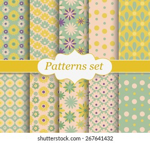Set of patterns. Yellow and green flowers