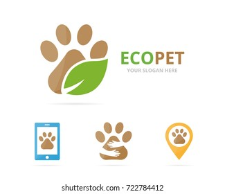 Set of paw logo combination. Pet and eco symbol or icon. Unique vet and organic logotype design template.