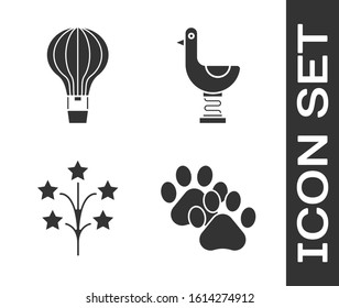 Set Paw print, Hot air balloon, Fireworks and Riding kid duck icon. Vector