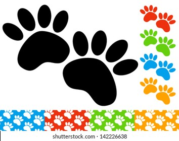 Set of paw prints - marks, and seamless patterns