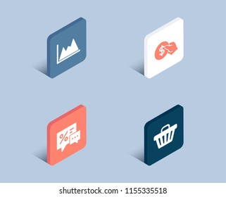 Set of Payment, Discounts and Diagram icons. Shop cart sign. Usd coin, Best offer, Growth graph. Web buying.  3d isometric buttons. Flat design concept. Vector