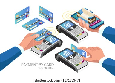 Set of payment options by card through the terminal. Credit and debit cards in the human hand. Payment via smartphone. Contactless payment. Isometric 3d